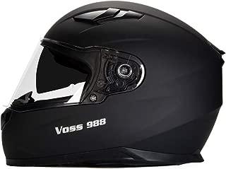 Voss 988 Moto-1 Street Full Face Helmet with Drop Down Internal Sun Lens - XL - Solid Matte Black