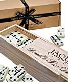 Jaques of London Dominós - Club Double Six Dominoes en una Caja de Madera con Tapas deslizantes