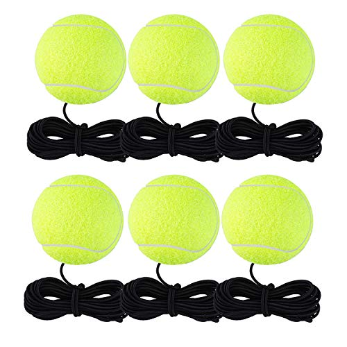 EBAT Tennis Trainer Ball, Solo Equipment Practice Training,Tennis Ball on a String,Tennis Accessories. (Pro Tennis Balls x 6)