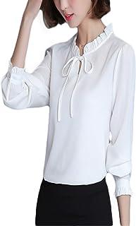 Thx Style 女式蝴蝶结领长袖休闲办公室雪纺衬衫上衣