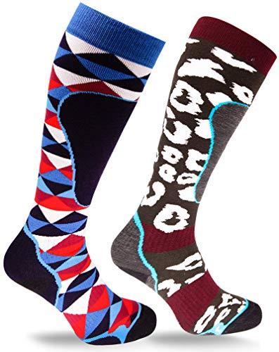 socks4fun pegasus Skisocken - Warme Wintersocken (2 Paar) für Damen und Herren | Hochwertige Sportsocken mit Thermo Effekt (39-42, Raute-Binnensee)