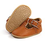 SOFMUO Baby Girl Mary Jane Flats Shoes Non Slip Soft Sole Infant Toddler First Walker Wedding Princess Dress Crib Shoes(A0/Brown,6-12 Months