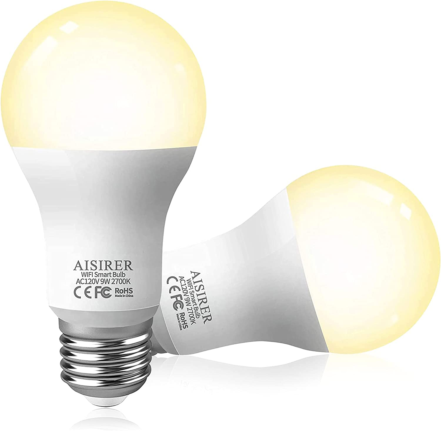 Smart Light Bulb 16.16GHz WiFi LED Bulbs 16 Watts 16LM Compatible with  Amazon Alexa Echo, Google Home Assistant and Siri Dimmable Warm Light 16700K  No ...