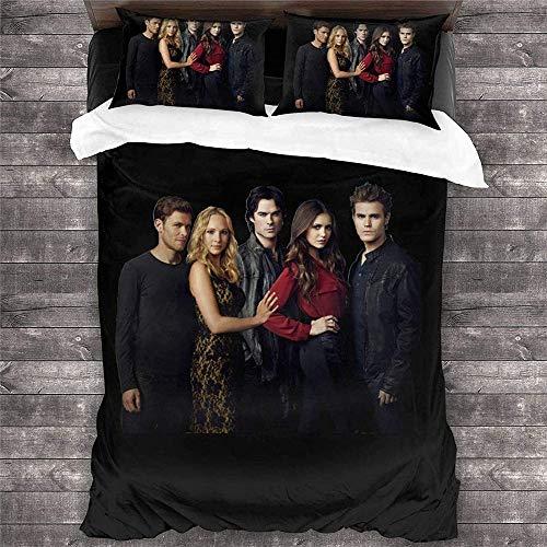 MYLZZ The Vampire Diaries Juego de funda nórdica y 2 fundas de almohada, juego de ropa de cama de microfibra suave, adecuado para niños, adultos y niños (L3,135 x 200 cm + 50 x 75 cm x 2)