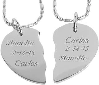 Engraved Couple's Broken Heart Necklace Set