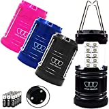 Gold Armour 4 Pack LED Camping Lantern Portable Flashlight with 12 aa Batteries - Survival Kit for Emergency, Hurricane, Power Outage Great (Multicolor with Magnetic Base)