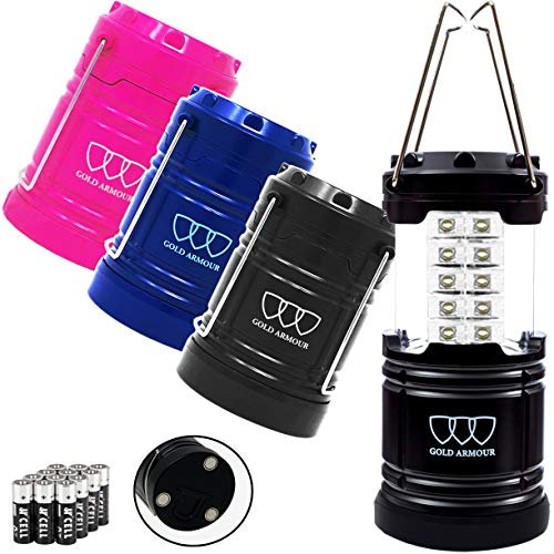 Gold Armour 4 Pack LED Camping Lantern Portable Flashlight with 12 aa Batteries  Survival Kit for Emergency Hurricane Power Outage Great Multicolor with Magnetic Base