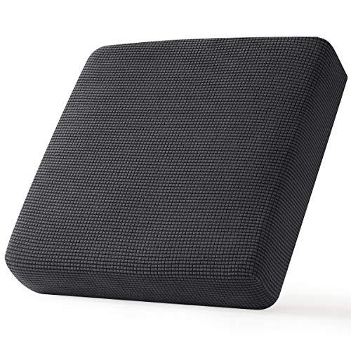 CHUN YI Stretch Sofa Seat Cushion Cover, Fitted Sofa Couch Cushion Covers Furniture Protector, Checks Jacquard Spandex Fabric (Chair, Grey)