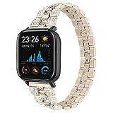 Cinturino regolabile compatibile con Amazfit Bip Bands, bracciale da donna, accessori per Amazfit Bip Smart Watch e Acciaio inossidabile, colore: Oro champagne