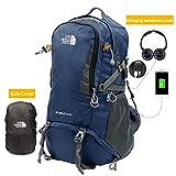 EULANT Unisex Wanderrucksack Wasserdichter Trekkingrucksäcke mit Regenschutz & USB-Ladeanschluss &...