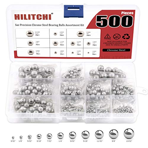 "Hilitchi 500 Pcs 11 Size SAE Precision Bearing Steel Ball Assortment Loose Bicycle Bearing Balls 3/32"" 1/8' 5/32' 3/16' 7/32' 1/4' 9/32"" 5/16"" 11/32"" 3/8"" and 13/32"" with Storage Box"