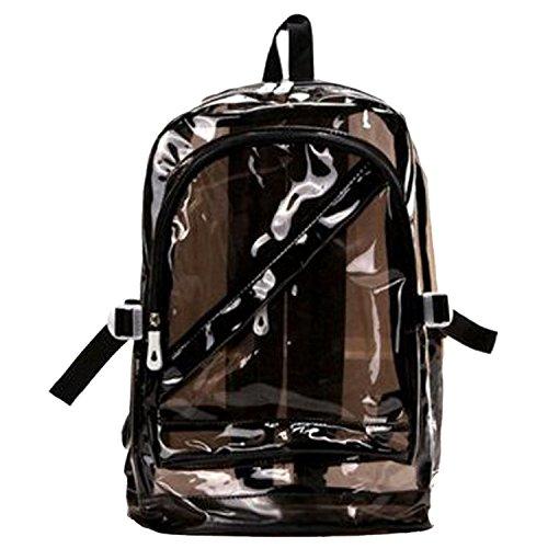 Tfxwerws Sweety Mode transparente à fermeture Éclair Sac à dos Sac Plastique Sac d'école Bookbag-black