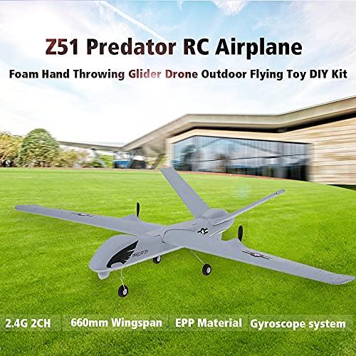 skrskr Z51 2.4G 2CH Predator Remote Control RC Airplane 660mm Wingspan Foam Hand Throwing Glider Drone Kit de Bricolaje para niños Principiantes