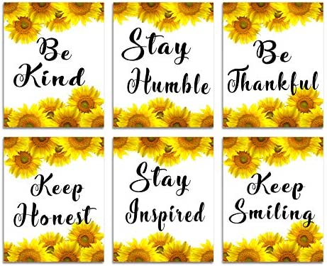 Motivational Wall Art Inspirational Quotes Sunflower Decor for Bedroom Kitchen Bathroom Set product image