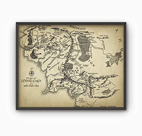 Erti567an - Póster de mapa del Señor de los Anillos, mapa de la Tierra Media, mapa de la Tierra del Señor de los Anillos de fantasía Mordor Rohan Gondor Hobbit Gandalf