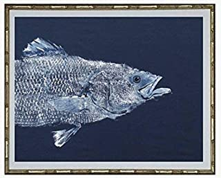 Striped Bass GYOTAKU fish Art prints Head and Tail 8.5 X 11 inch by Barry Singer. Beach House Picture Cottage décor