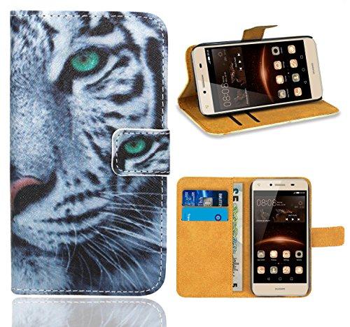 FoneExpert® Huawei Y5 II / Huawei Y6 II Compact Handy Tasche, Wallet Hülle Flip Cover Hüllen Etui Ledertasche Lederhülle Premium Schutzhülle für Huawei Y5 II / Huawei Y6 II Compact