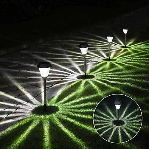 4 Stück Solarleuchte Garten Außen,OxyLED IP44 Wasserdicht Solar Gartenleuchte Wasserdicht Solarlampe für Garten Patio Rasen,Terrasse(Weiß)