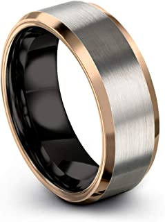 Midnight Rose Collection Tungsten Wedding Band Ring 8mm for Men Women 18k Rose Gold Plated Bevel Edge Black Grey Brushed Polished