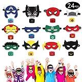 HXDZFX 24PCS Superhero Party Masks & Superhero Slap Bracelet for Kids Baby - The Avengers Super Heroes Birthday Party Supplies Favors Children/Kids/Adults (Masks& Slap Bracelet)
