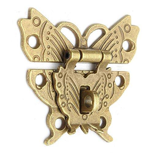 KINWAT Hermoso diseño de mariposas de bronce antiguo cierre de broche joyería caja de madera cierre de armario hebilla caso cerraduras mango accesorio de hardware