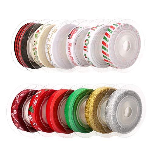 LUTER 12 Stück Dekobänder Weihnachten Satinbänder Ripsbänder Schleifenband Geschenkband Weihnachtsbänder Perfekt für Geschenkverpackung, Nähen, Haarband, Hochzeit, DIY Handwerk(4.57mx10mm, 12 Farben)