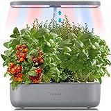 Yoocaa Indoor Smart Garten, 12 Pflanzen Hydroponisches Anzuchtsysteme Anzuchtsystem mit Höhenverstellbar LED-Wachstumslicht, Automatisches Intelligenter Garten Silber(Ohne Samen)