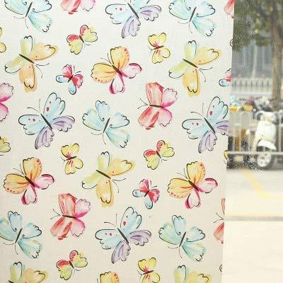 LMKJ Película de Ventana de Mantenimiento Fresco estático con patrón de Mariposa para la decoración de Ventanas del hogar, Hermosa Pegatina Mate de privacidad de Ventana A37 30x200cm