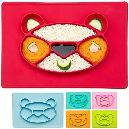 Happy Face Mat Kinder-Teller Baby Essmatte aus Silikon Essunterlage Tisch-Set Platzteller Anti-rutsch-Fester Babyteller; Panda, rot