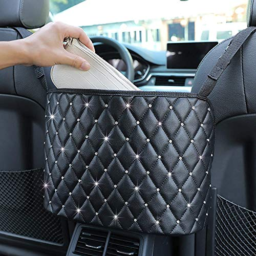 HENGBANG Car Seat Storage and Handbag Holding Net Car Net Pocket Handbag Holder Hanging Storage Bag Between Car Seats BlackDiamond
