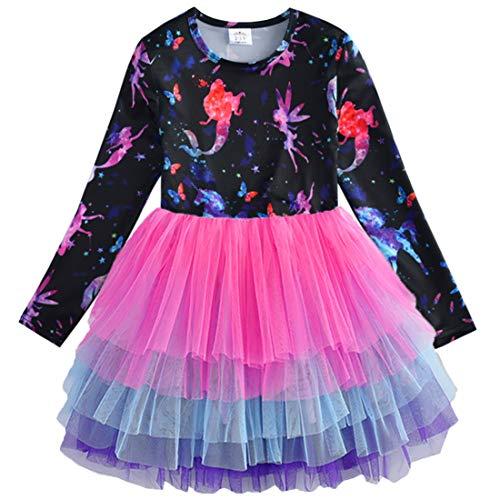 VIKITA Toddler Girl Starry Fairy Purple Tutu Winter Long Sleeve Party Dresses for Girls(LH4593, 6 Tall)