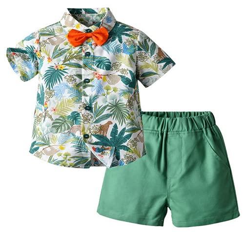 Conjunto de niño de 1 a 5 años de verano 2 piezas camisa polo camiseta de manga corta con pajarita + pantalones cortos casual hawaiano Vacaciones verde claro 18-24 Meses