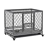 PawHut Heavy Duty Dog Crate Cage Kennel w/Removable Tray Wheels & Lockable Door for Large Dogs Indoor & Outdoor, 42.5' L x 30' W x 34.25' H