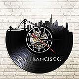 QIANGTOU San Francisco Skyline Wall Art USA SF Cityscape Reloj de Pared Reloj Golden Gate Bridge Reloj de Disco de Vinilo Vintage Travel Landmark