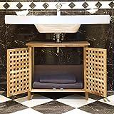 Relaxdays, Mueble para Debajo del Lavabo, Armario para el baño, de Madera de Nogal Resistente, Aproximadamente 61x 66x 29cm (Alto x Largo x Ancho) Marrón Claro
