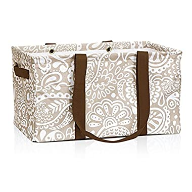 Thirty One Deluxe Utility Tote in Taupe Playful Parade - 4441 - No Monogram