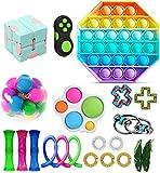 Juego de Juguetes sensoriales Fidget Toys, Juguetes sensoriales para Autismo, Juguetes antiestrés, Empujar un Frijol, Empujar Pop Pop Bubble, apretar Juguetes para niños y Adultos (J-21, A)
