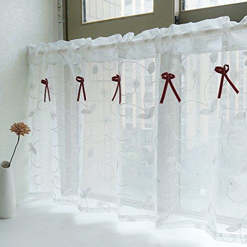 Yujiao Mao Amerikanisches Land Art gestickten Gaze Vorhang Bistrogardine Küchengardine Scheibengardine, BxH 140x100cm, Weiss