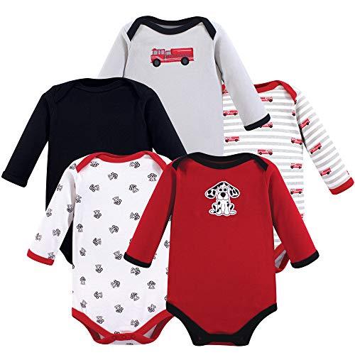 Luvable Friends Unisex Baby Cotton Long-Sleeve Bodysuits, Fire Truck, 3-6 Months