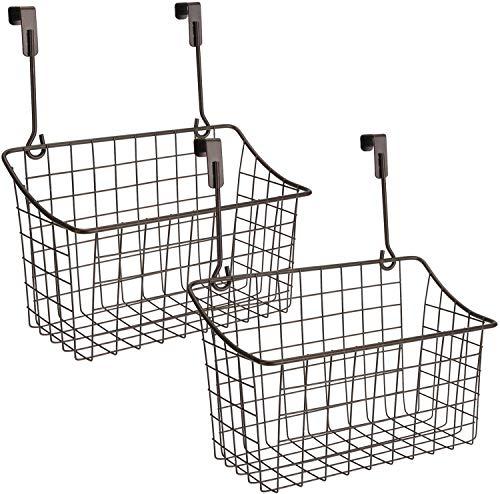 Nicunom 2 Pack Grid Storage Baskets with Hooks, Over Cabinet Door Organizer, Wire Basket Hanging Storage Organizer Steel Wire Sink Organization for Kitchen & Bathroom, Holds Shampoo, Body Wash, Bronze