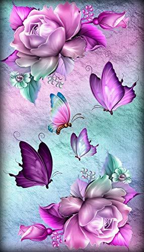 DIY 5D Diamanten Gemälde Kristall Kits lila Schmetterling Blume Diamond Painting für Kinder Strasssteine Bilder Kreuzstich Kits Supply Kunst Handwerk Leinwand Aufkleber Home Decor 30 x 48 cm