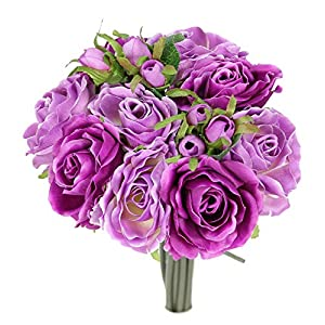 JenlyFavors Rose Silk Flower Bouquet Lilac Mix