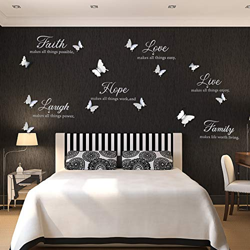 6 Pieces Faith Hope Love Laugh Family Live Wall Decal Sticker Motivational Wall Decal Sticker with 12 Pieces 3D Butterfly Decal Inspirational Quotes Sticker Set for Home Office Decor (Bright Silver)