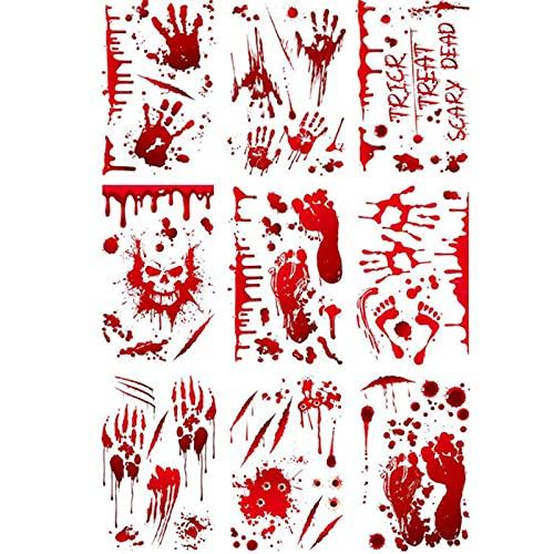 Huella de Mano Sangre Pegatinas de Halloween Sangrienta Manos Pegatinas para Decoración de Halloween Calcomanías de Ventana de Terror de Halloween Adhesivos Engomadas Decoraciones de Fiesta(95 Hojas)