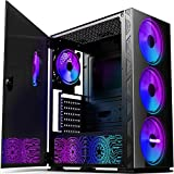 Pansonite Airflow ATX Mid-Tower Chassis PC Gaming Case with Door Opening Tempered Glass Side Panel,Side Ventilation, E-ATX Supported, 4 RGB Fans & RGB Backplate Pre-Installed (G01-DX4-1)