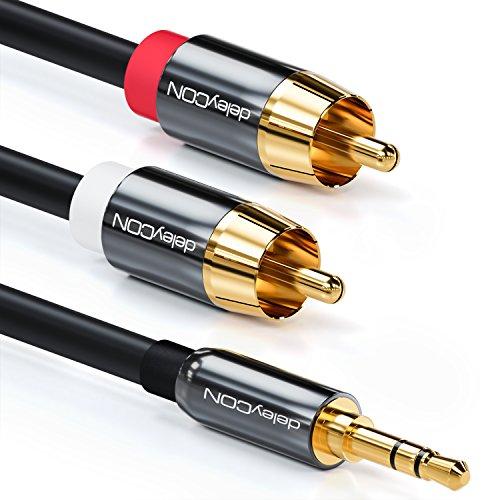 deleyCON 15m Klinkenkabel Cinch Kabel 3,5mm Klinke zu Cinch RCA Stereo Audio Kabel 1x Klinkenstecker auf 2X RCA Cinch Stecker Metallstecker Schwarz