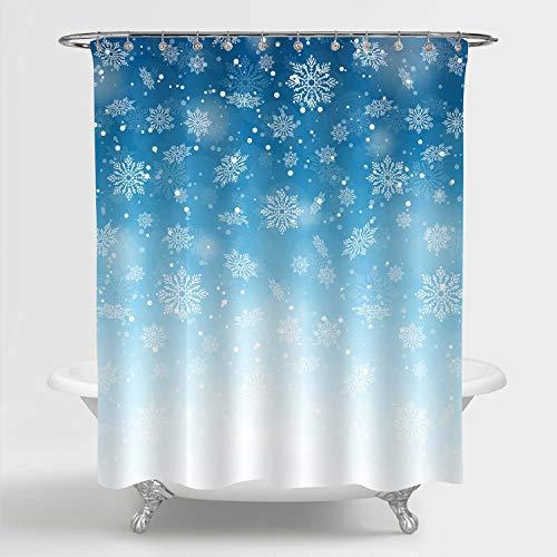 MitoVilla Schneeflocken Duschvorhang für Winter Badezimmer Dekor, verschwommener Winterhintergr& Merry Christmas Badezimmerzubehör, Blau, Weiß, 183 cm B x 213,4 cm L XL