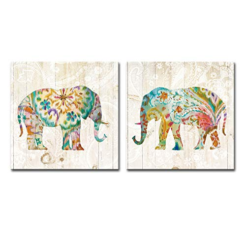 DekHome 2 Panels Elephant Canvas Wall Art Boho Paisley Elephant Prints Colorful Animal Pictures Abstract Wildlife Artwork for Bedroom Living Room Decor Framed Ready to Hang