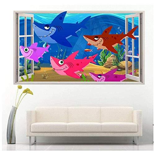 Wall Stickers & Murals Sharks Ocean Cartoon Family Bedroom Girls Boys Living Kids 50x70 cm/19.7x27.6 in.
