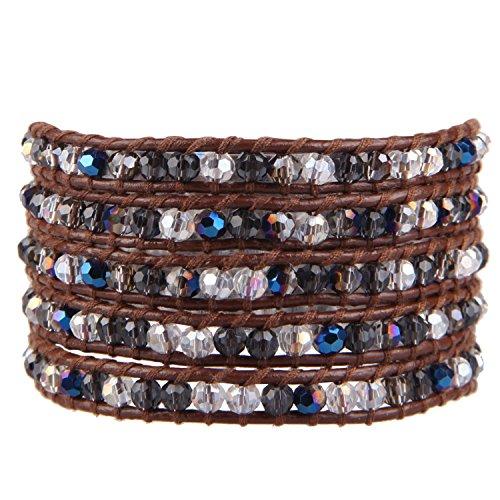 KELITCH Exclusiv Farbe Kristall Perlen 5 Wicklen Armband Handmade Neu Schmuck (Kaffee)